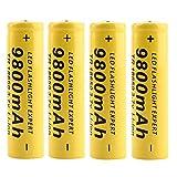 4 Stück Gelb18650 Batterie 3.7V 9800Mah...